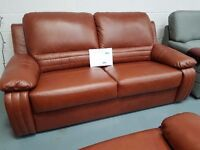 Brand New 3+2+1 Tan Leather Sofa. Single Armchair Is Electric Recliner. Free Delivery Up To 25 Miles