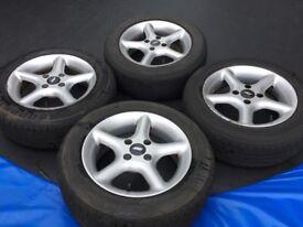 "Mazda MX5 Alloy Wheels 14"" TSW Stealth & 185/60R14 Tyres"