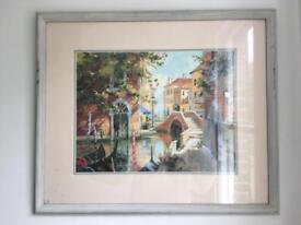 Large Watercolour framed print Venice painting Art Artwork shabby chic