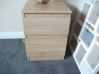 2x IKEA KULLEN CHEST OF 2x DRAWERS BEDROOM FURNITURE IN Oak effect