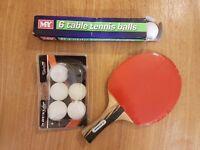 Table Tennis kit (1x bat, 6x M.Y balls, 6x Dunlop balls)