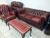 lovely 2 piece antique chesterfield. large three setter and high back queen Anne armchair.