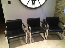 Six mid century black leather and chrome dining chairs Mies an der Rohe style