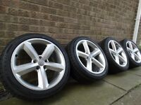 Set alloys wheels 18' with 2x new tyres ,genuine audi fit to a4b7, b8 , a6, a5, a7, TT, VWCaddy