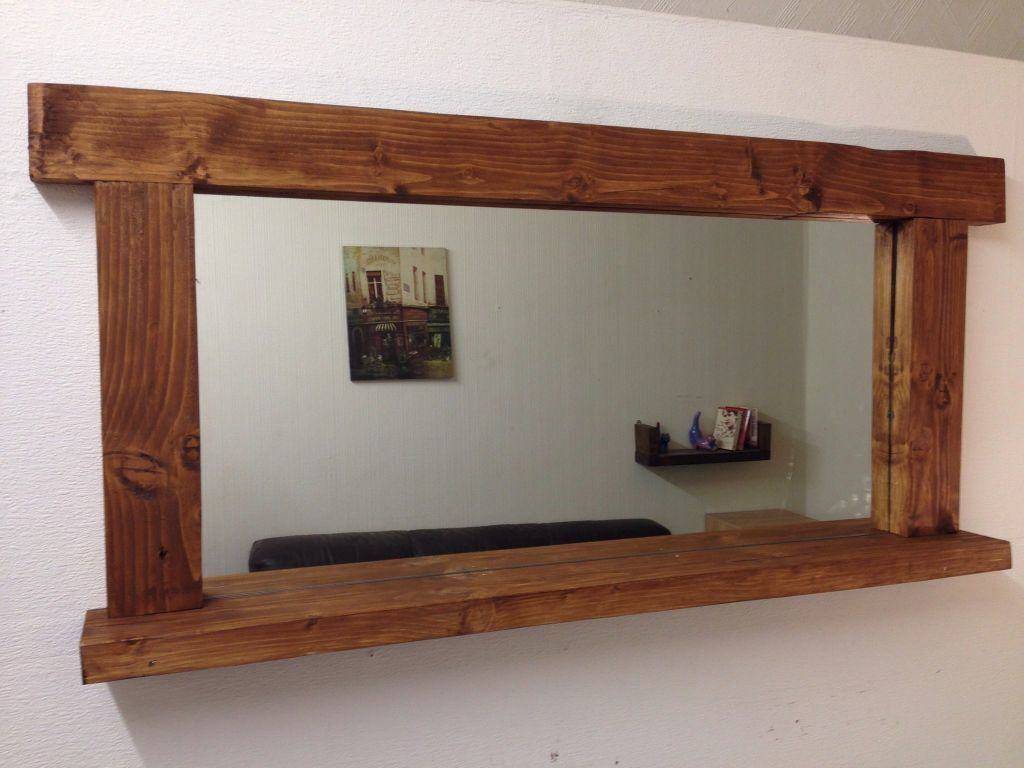 new large handcrafted very massive wooden wall mirror with. Black Bedroom Furniture Sets. Home Design Ideas