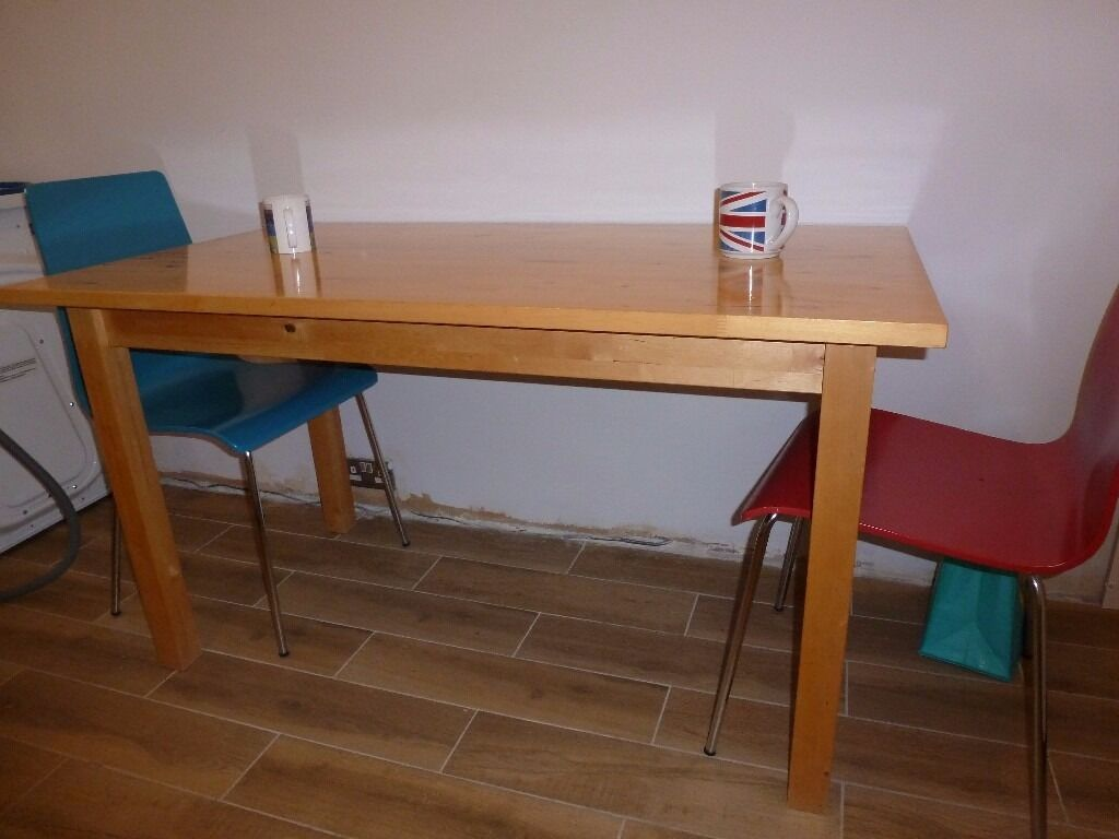 Solid wood dining tablein Peterborough, CambridgeshireGumtree - Solid wood dining table. Excellent condition, dining, kitchen table. Dimensions 135x75cm Bargain! £45 Can be delivered locally for little fee