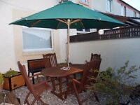Alexander Rose LTD Hrdwood Garden Table And Four Chairs Plus Parasol