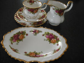 Royal Albert country roses china teaset. 12 cups, saucers,sideplates, milk jug , sandwich plate
