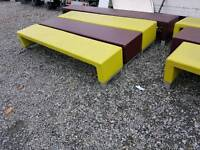 Leather covered benches and seats suit beer garden pubs clubs sports waiting & changing rooms