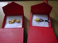 Pure 24ct new boxed gold pendants octopus + snake. Swindon £290