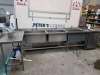 Stainless Steel 3 Sink Unit & Worktop