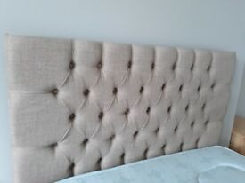 Beautiful linen headboard for a small double bed