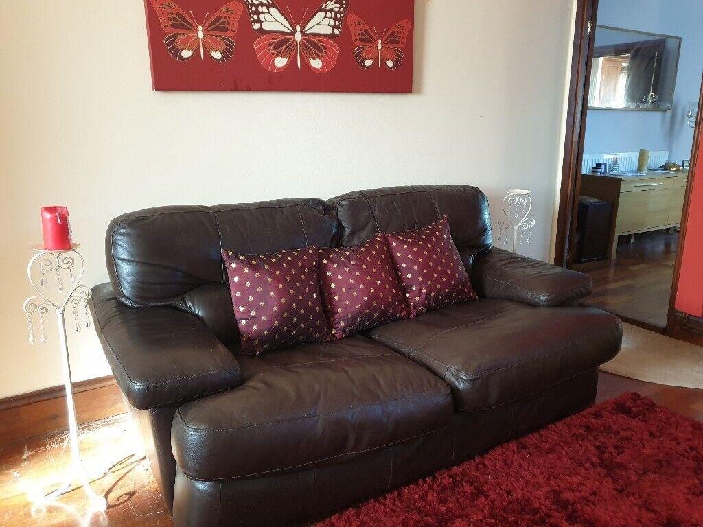 Marvelous Reduced Bargain Three Seater Dark Brown Leather Sofa In Swansea Gumtree Pdpeps Interior Chair Design Pdpepsorg