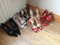 A selection of ladies heels size 6 and handbags. Includes Kurt Geiger and Roland Cartier