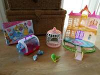 Little live pets bird and 2 mice plus cages. Disney princess castle and sticker set
