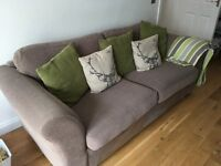 Neutral fabric 3 seater and brown leather arm chair