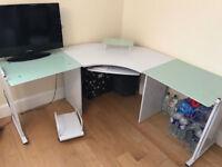 Glass and White Corner Desk