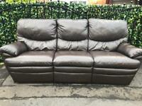 🍁 LUXURIOUS 3 -1 -1 DARK BROWN FULL LEATHER RECLINER SOFAS SUITE