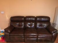 Leather recliner sofa & recliner chair