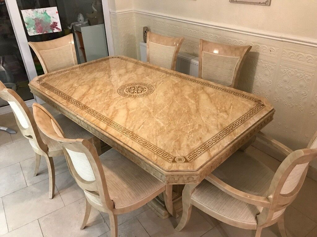6 Seater Marble Effect Dining Table With Chairs