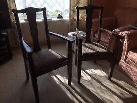 Two vintage carver chairs great restoration project