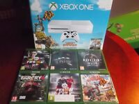 WHITE XBOX ONE WITH 6 GAMES