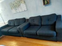 Sofa, sofa bed, chair and footstool