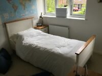 Bedside table , drawers , white wood , single bedroom set