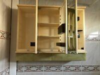 Bathroom cabinet. Retro design. Three glass doors