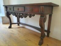 Stunning Antique French Oak Empire Sideboard Table. 2 Drawers & Carved Lions Paw Feet