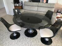 1960s Retro Glass Table and 4 Swivel Chairs