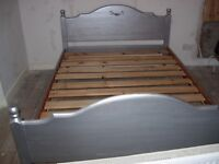 Solid pine double bed frame - painted silver to match Toulouse furniture