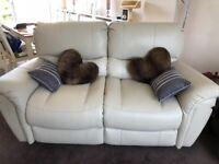 Cream 2 seater electric recliner sofa