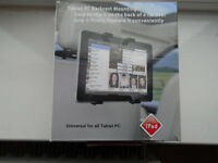 TABLET / PC BACKREST MOUNT, GRIPS THE TABLET FIRMLY, EASY TO CLIP ON THE BACK OF A CAR SEAT, NEW