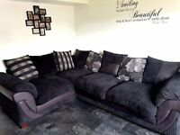 DFS Black/Grey Scatter-back Corner Sofa