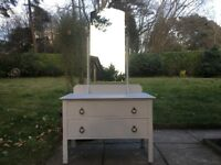 Hand Painted Vintage Oak Chest of Drawers with Tall Mirror