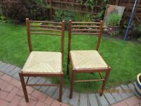 2 WOOD AND RATTAN CHAIRS