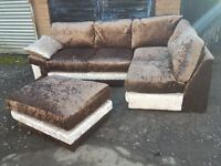 Stunning Brand New brown velvet corner sofa and footstool,or larger corner.delivery available