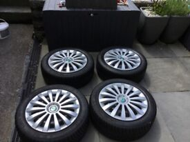 15 inch 5x100 steel wheels with winter tyres included 195 50 R15 82H m+s set of 4off