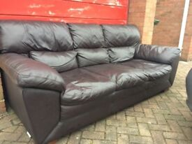 **QUICK SALE** 3 seater DFS dark brown leather sofa