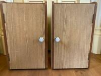 2 bedside cabinets upcycled from large speakers/shabby chic with shelf and magnetic closure
