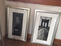 2 x New York Black & White Photos in Silver Gilt Effect Frames (Lot 1)