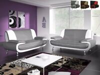 Get Now Brand New Faux Leather 3 + 2 Seater Carol Sofa Set Black White or Grey White