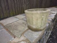 """Cast concrete 60 s type barrel flower pot 16x12x13"""". See my other items for sale"""