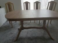 High Quality Large Wooden Dining Table + 4 chairs + cabinet