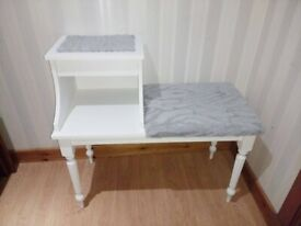 Telephone Table Chair / Seat / Hall / Entry - Solid Wood Grey White