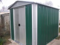 sheds for sale .8x6 galvanised. apex roof.two slideing doors.new in box.