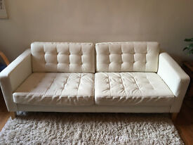 Karlstad 3-seater white leather sofa