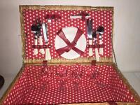 4 person vintage style polka dot wicker picnic hamper