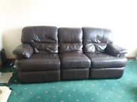 3 seater leather settee and chair